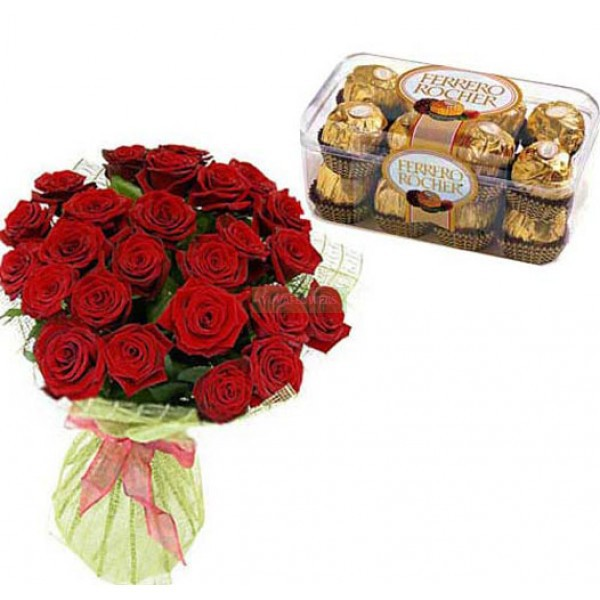 30 Red Roses With Rocher