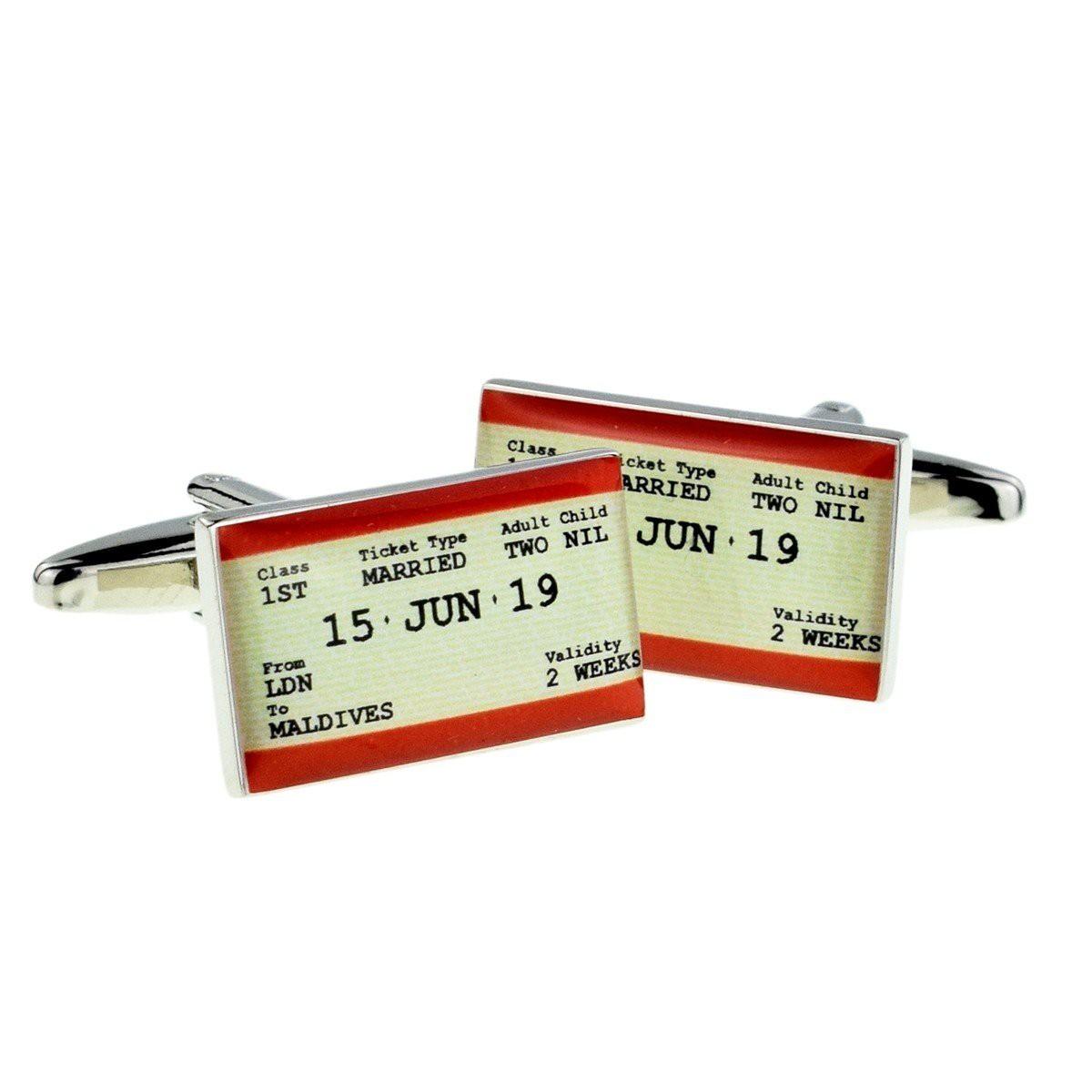 PERSONALISED TRAVEL TICKET STYLE WEDDING CUFFLINKS £19.99