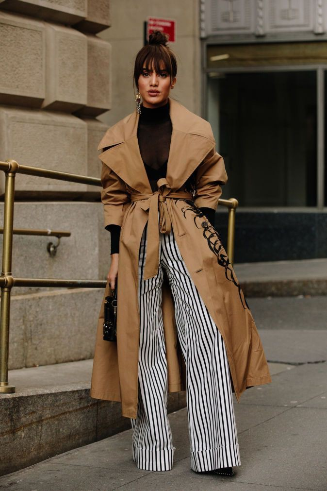 Tan brown coat with plazzo