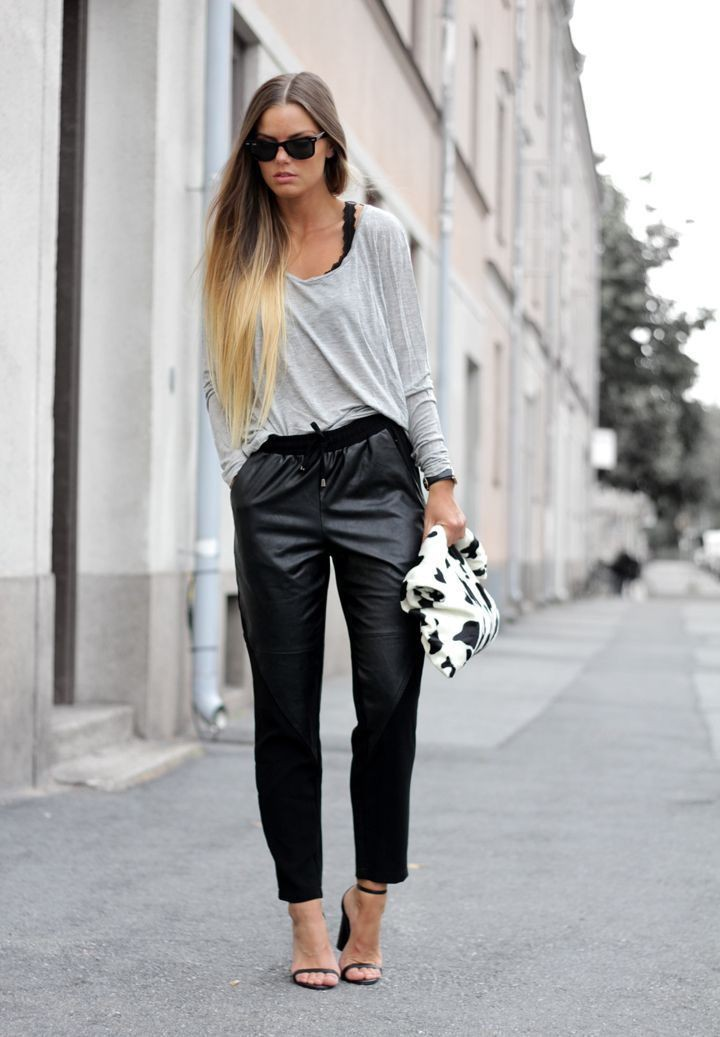 Simple Leather Pant Outfits For Women