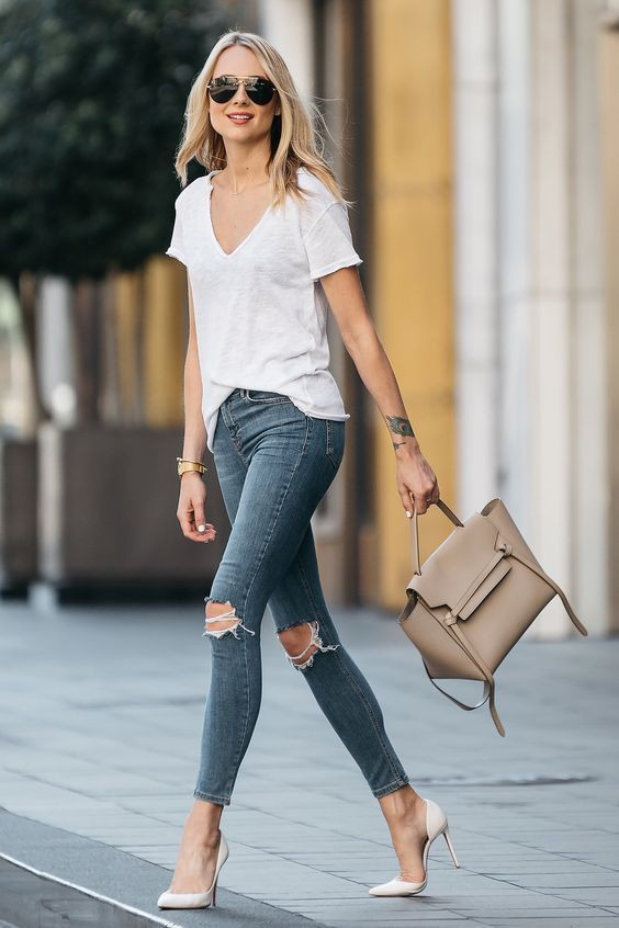 Womens white t shirt and jeans