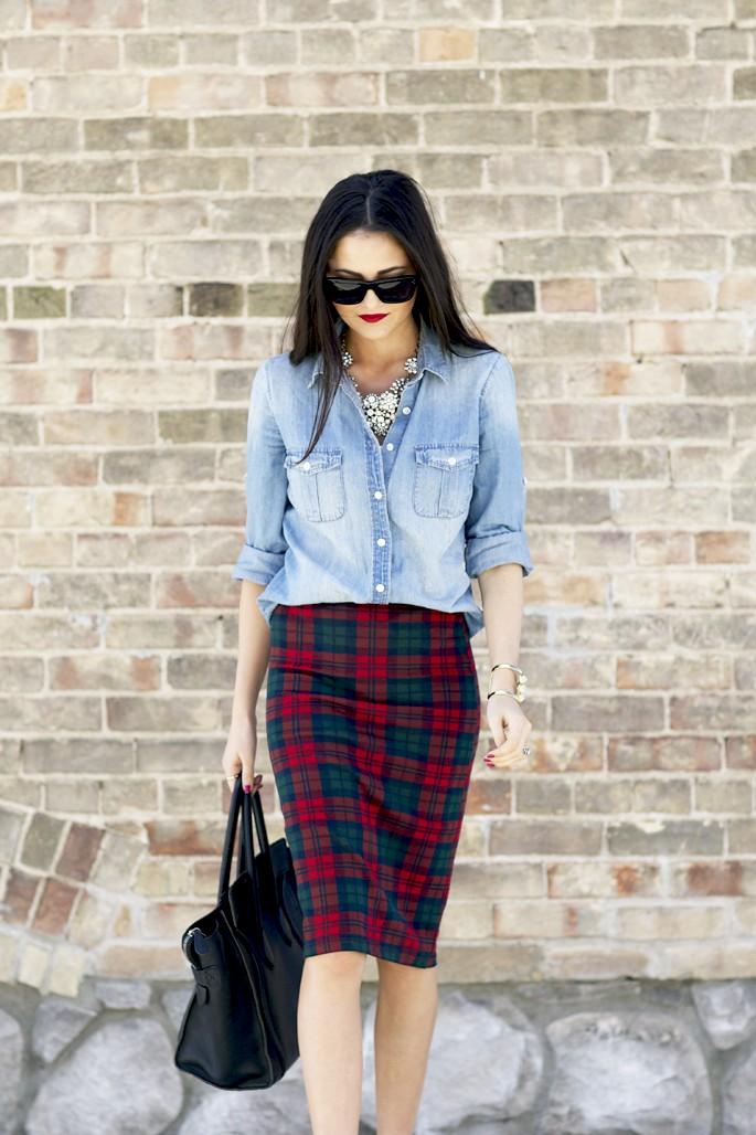 Denim shirt plaid skirt, Pencil skirt