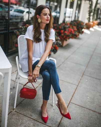 Asian style fashion red bag outfit, Casual wear