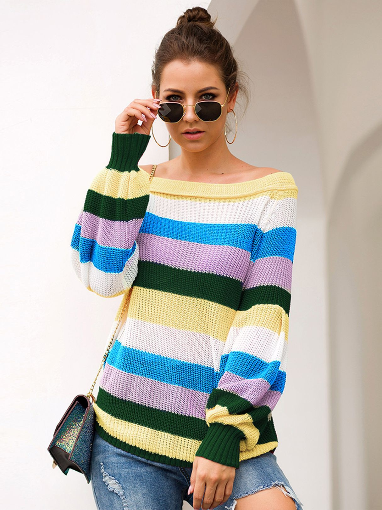 High neck Casual wear Color Block Sweaters