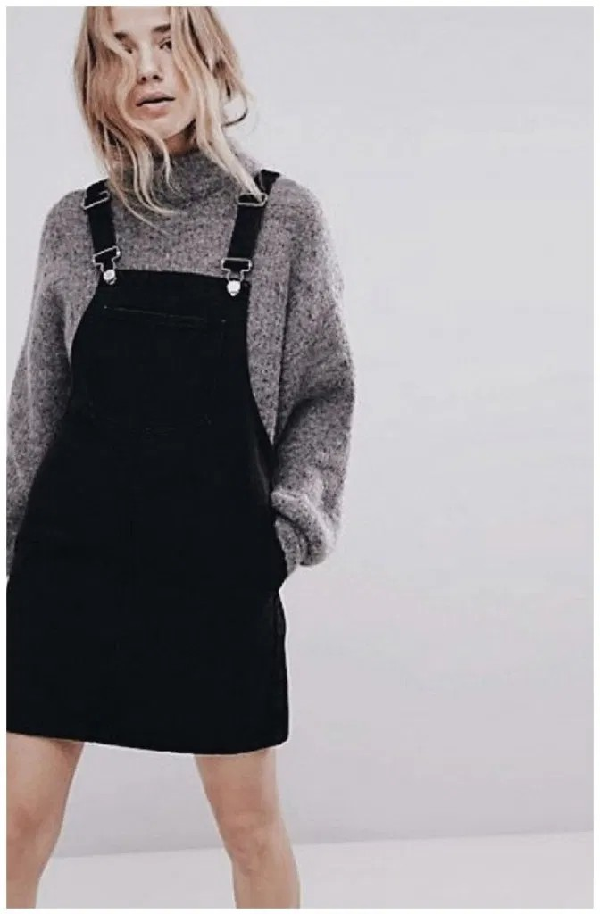 Shop for cool salopette dress outfit, Denim Dungaree Dress