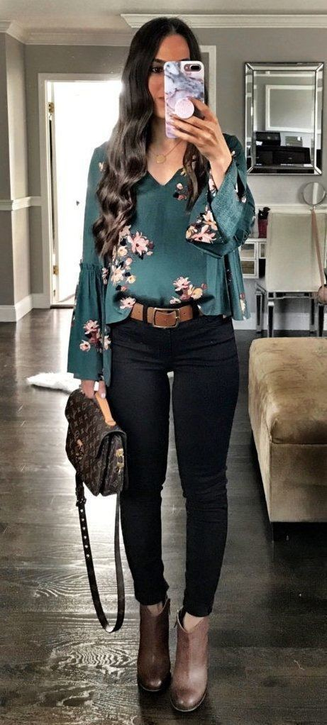 Floral tops with black jeans