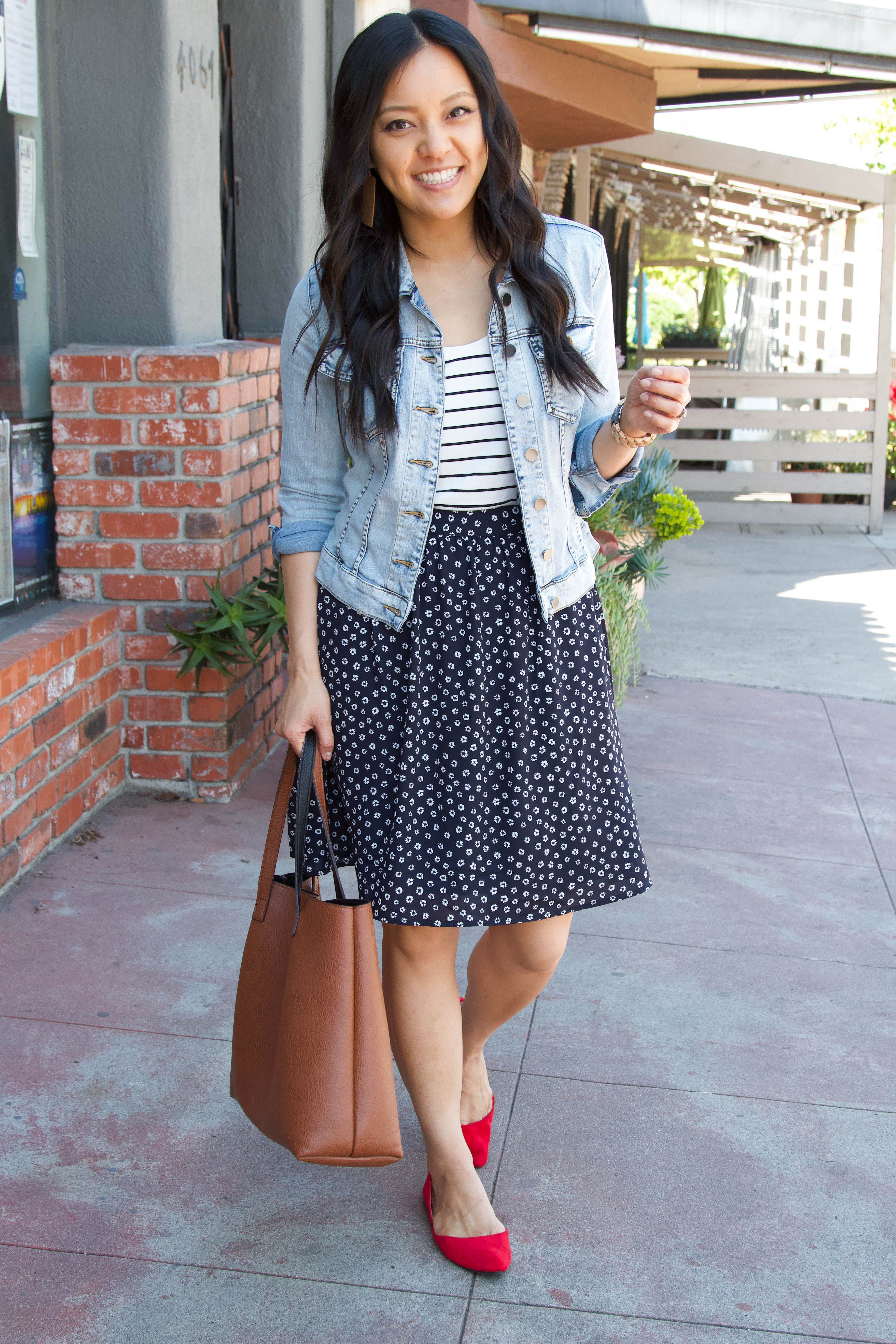 OMG! These are really cute flats skirt, Jean jacket