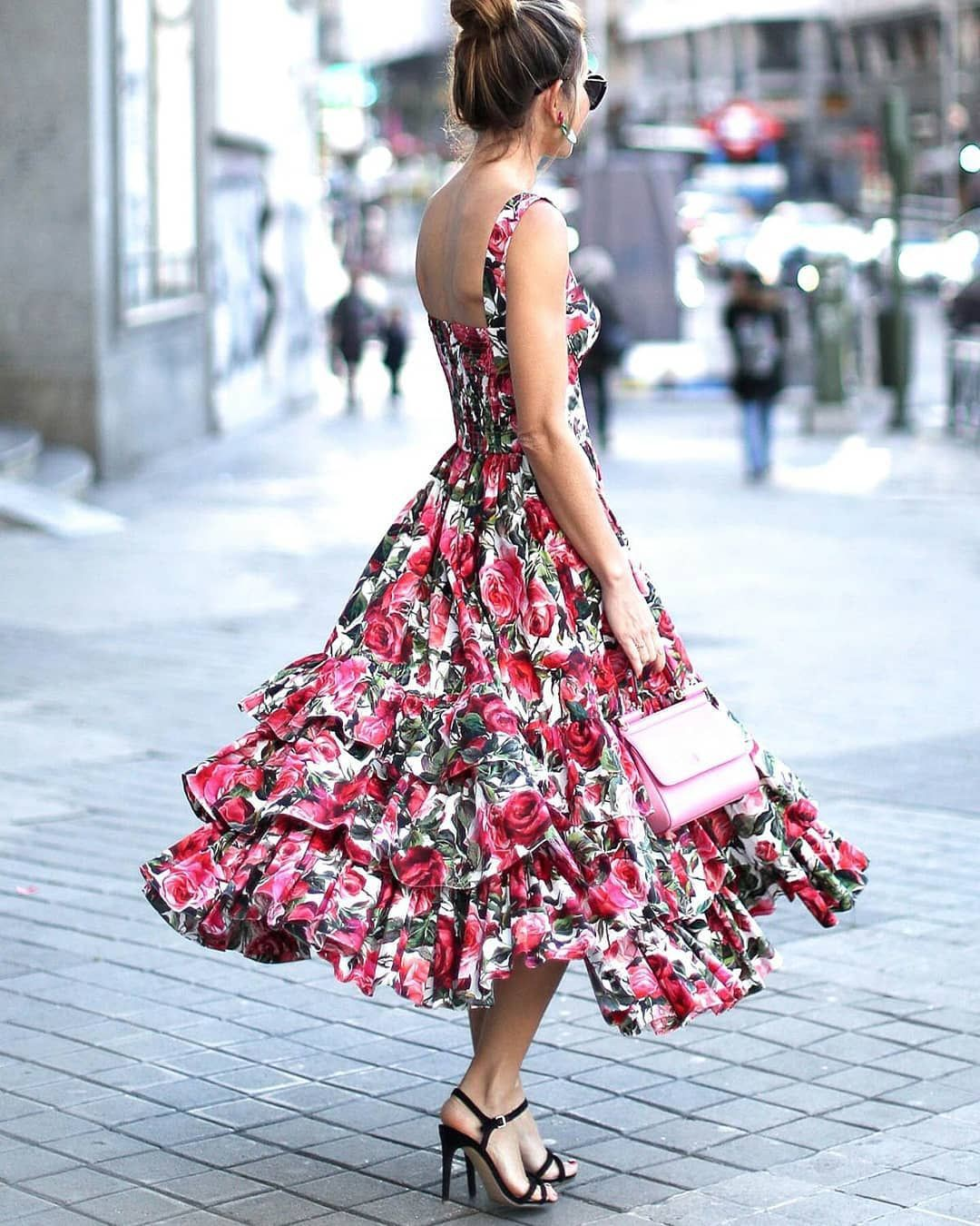 Flowy long floral dress, Maxi dress