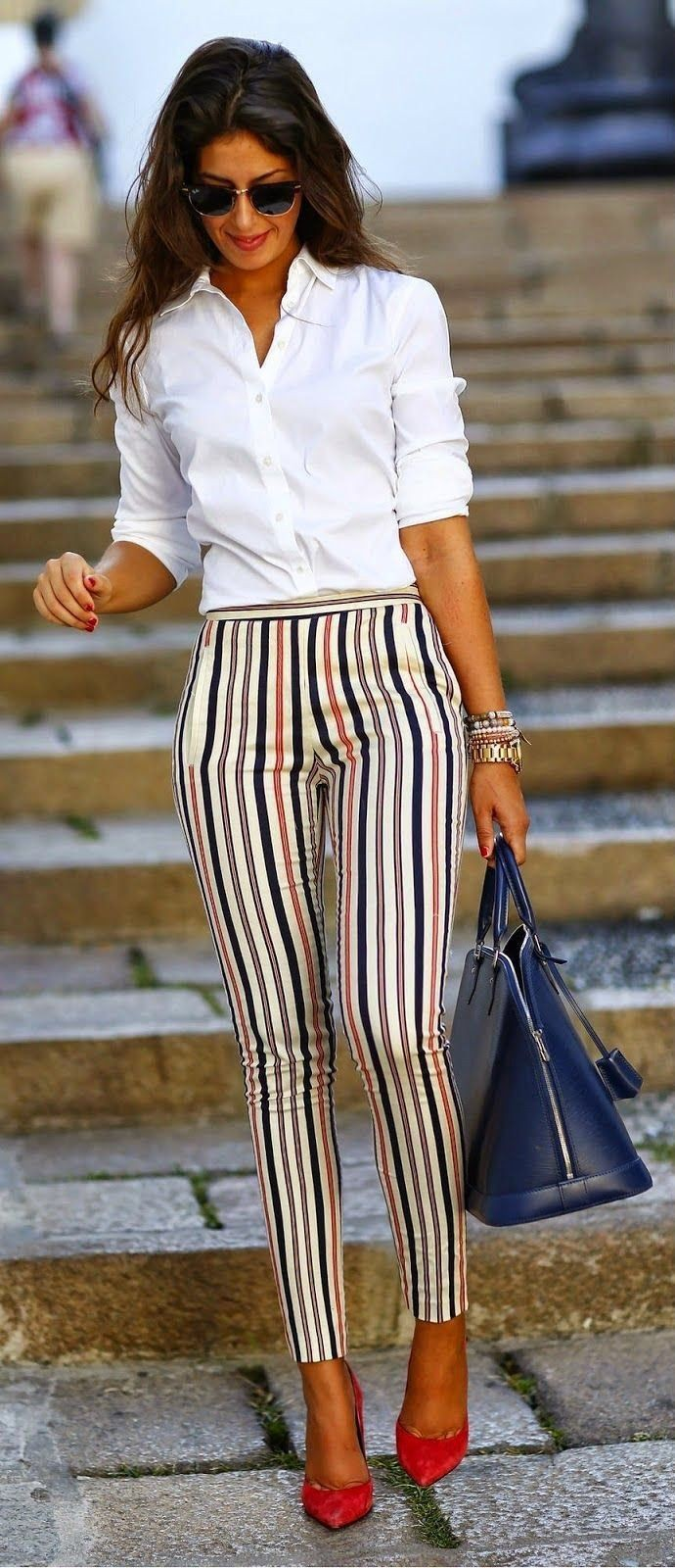 Striped pants work outfit, Dress shirt