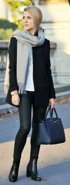 Street style dark grey scarf