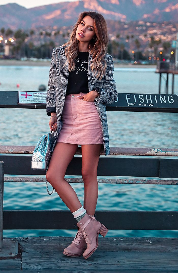 Pink combat boots outfit