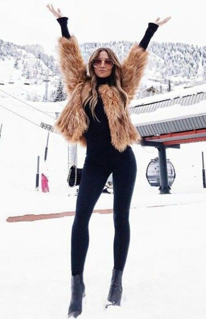 Classy Dress With Fur Coat, Winter clothing, Slim-fit pants