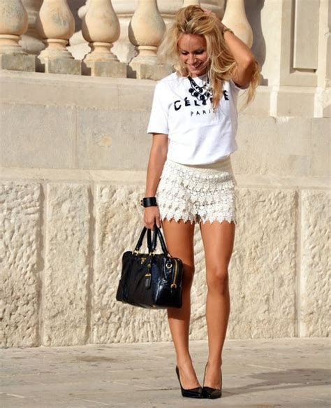 Outfits with lace shorts, Bermuda shorts