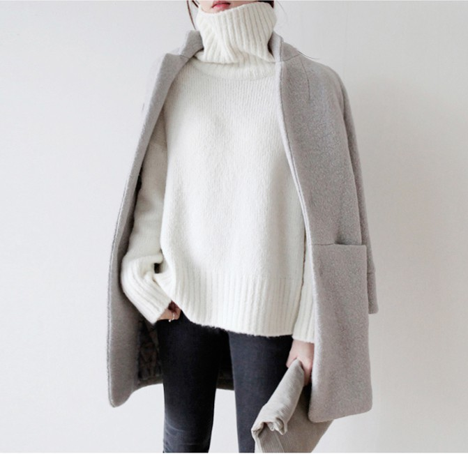 My own ideas on grey coat outfits, Polo neck