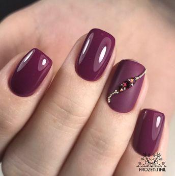 Gel Burgundy Nails
