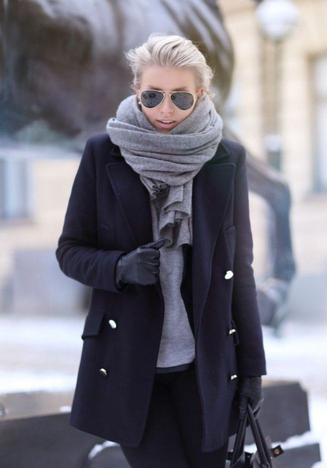 Womens grey scarf outfit, Winter clothing