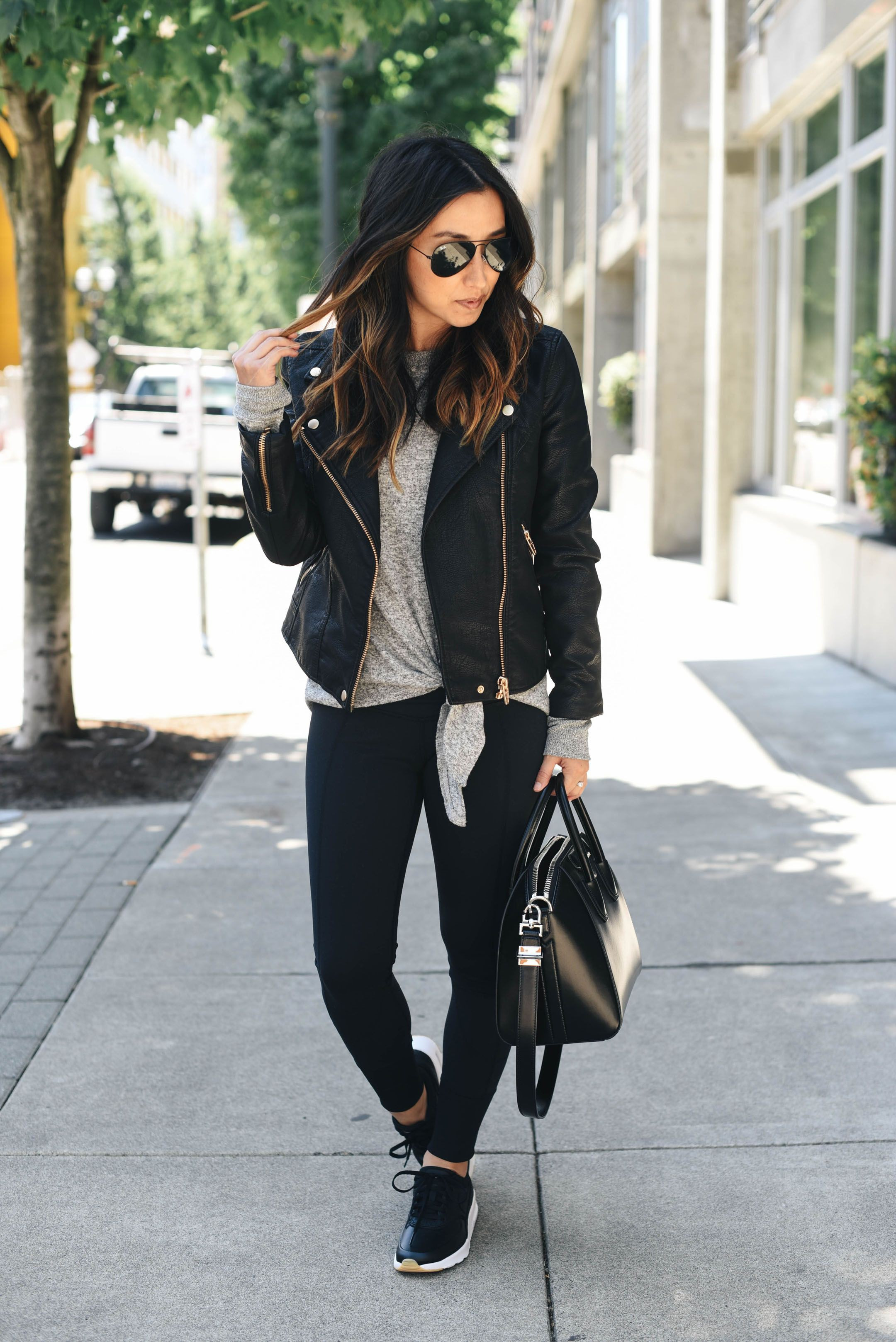 Outfits With Yoga Pants, Leather jacket, Casual wear