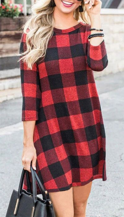 Holiday Outfit Ideas For Women, Plaid Mini Dress, Casual wear