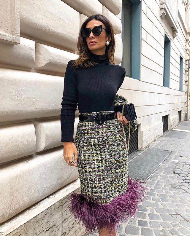 Outfits With Tweed Wrap Skirts, Pencil skirt, Polo neck
