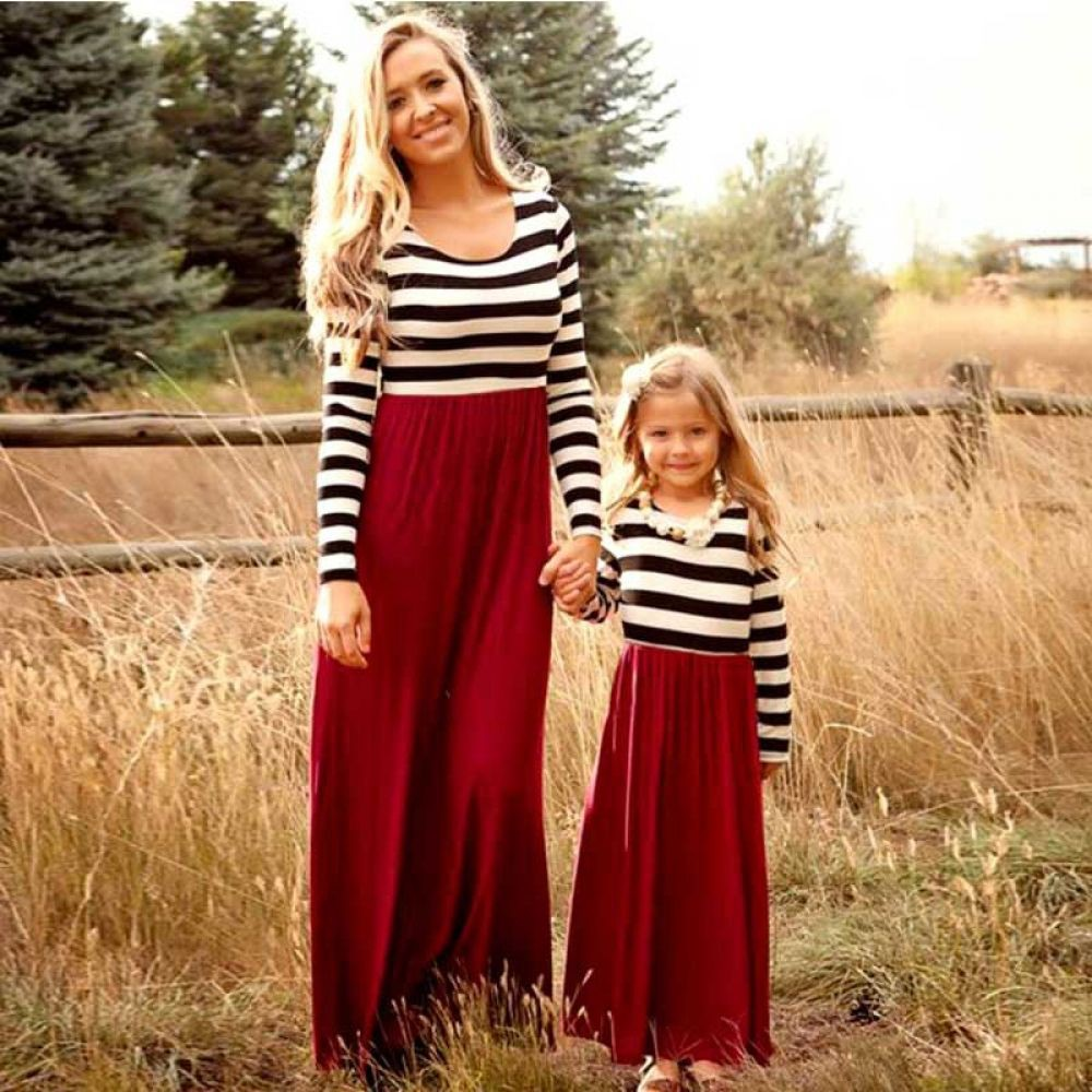 Mom and daughter dresses long sleeve