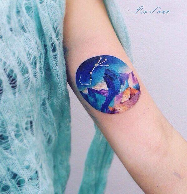 Mountain tattoos in colour, Sleeve tattoo