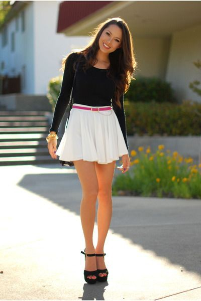 Black top and white skirt
