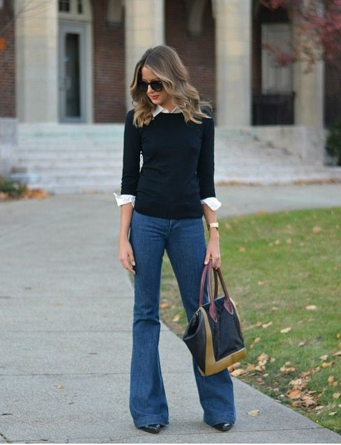 Elegant flare jeans outfit, Casual wear