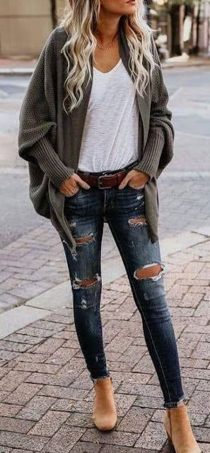 Cardigan with jeans baggy, Wide-leg jeans