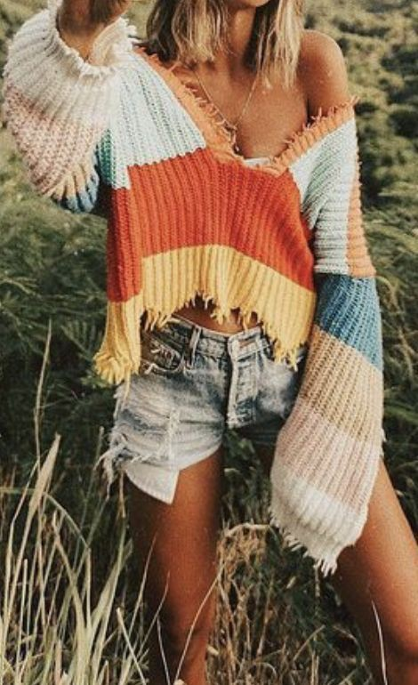 Sweet designs to try striped ripped sweater, Crew neck