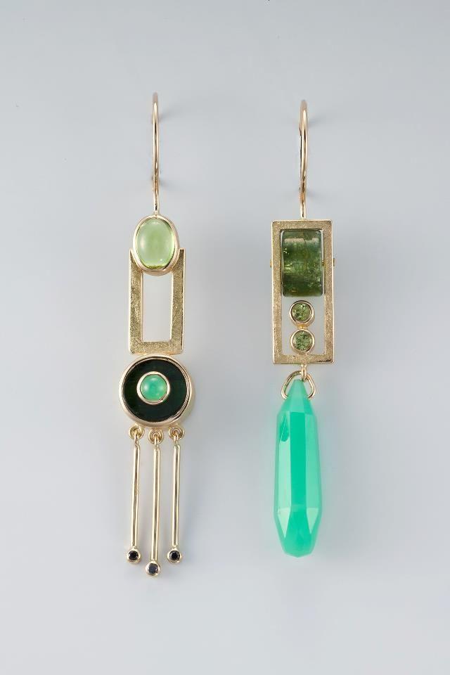 Flower Earrings Asymmetrical Earrings, Jewelry design,