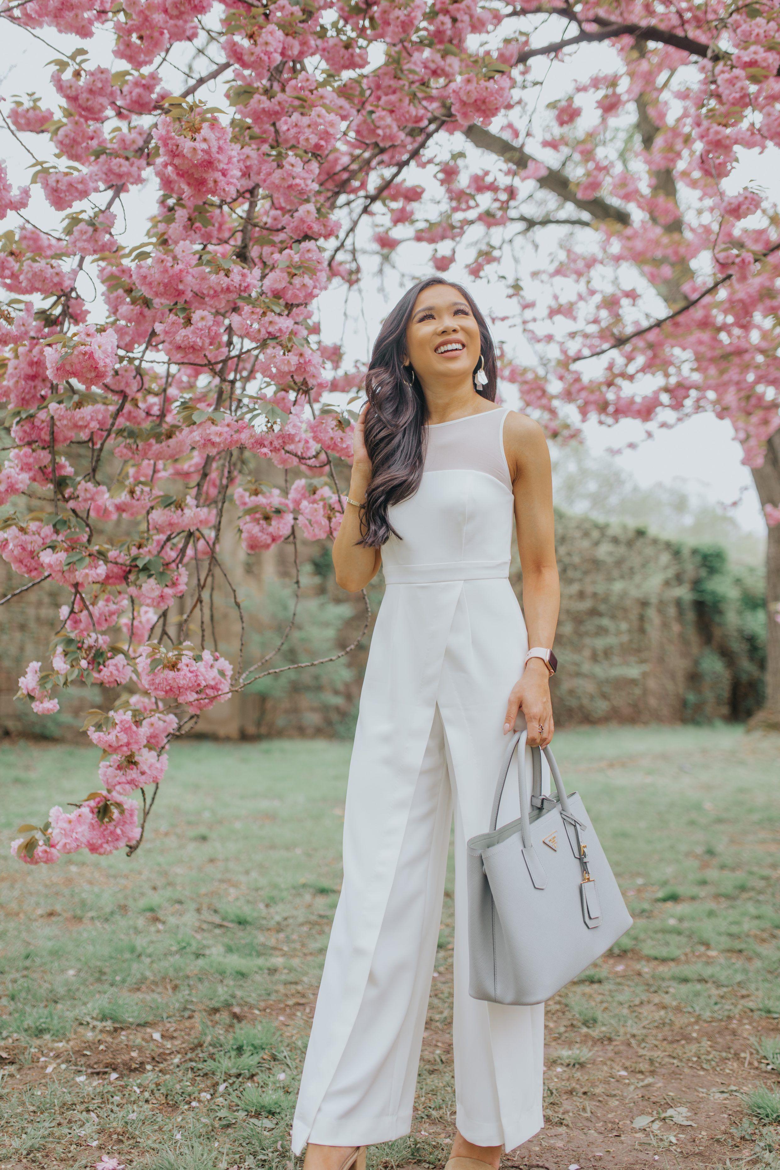 Illusion neckline white jumpsuit, Cherry blossom