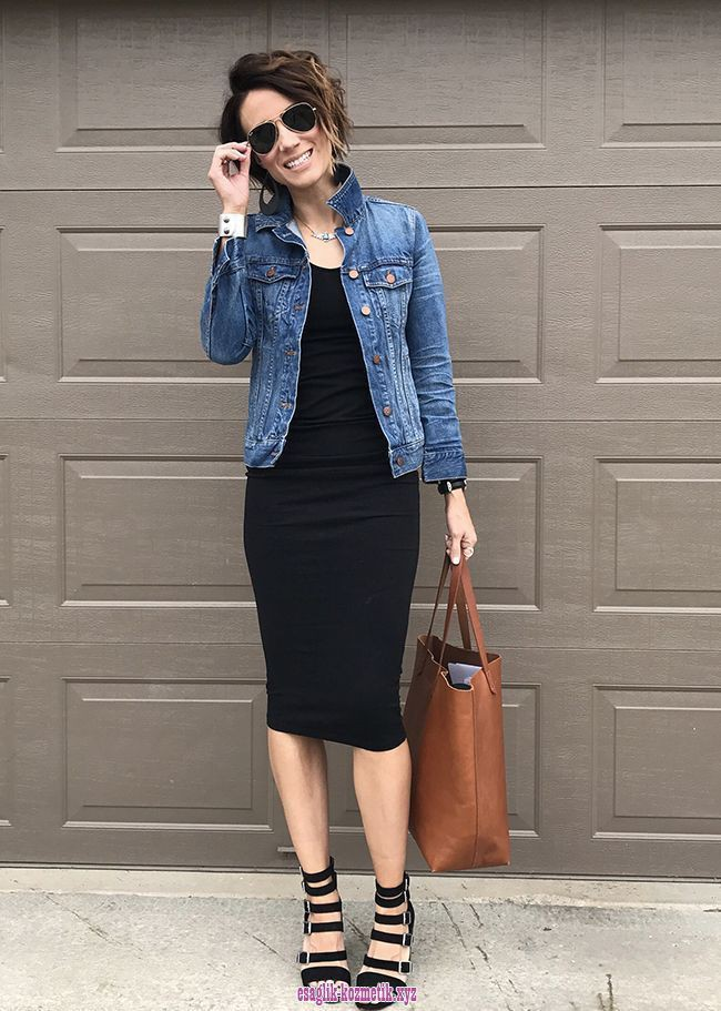 Denim jacket with dress outfit