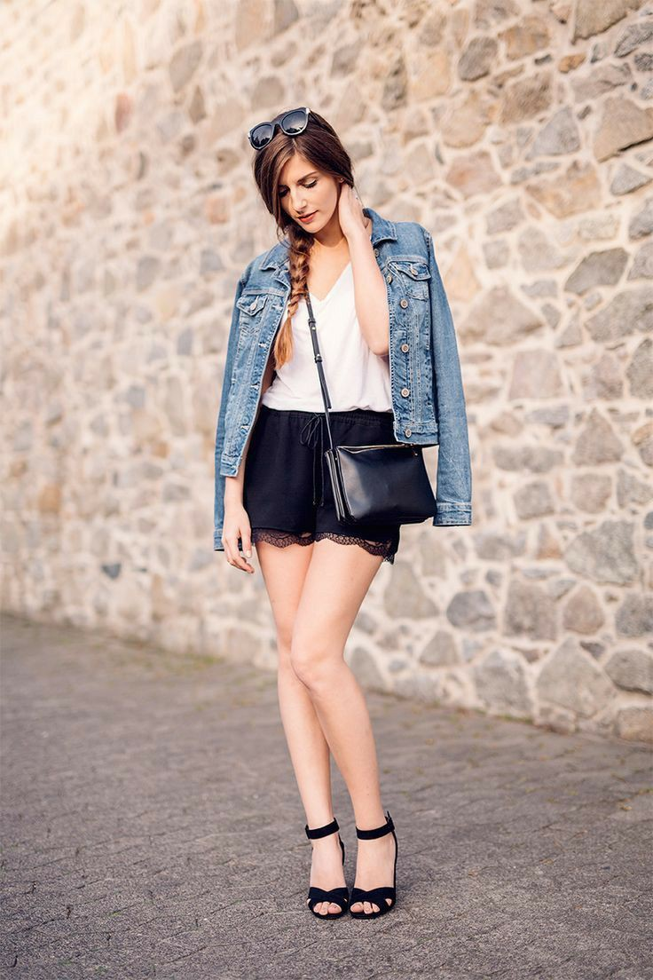 Denim jacket and black shorts