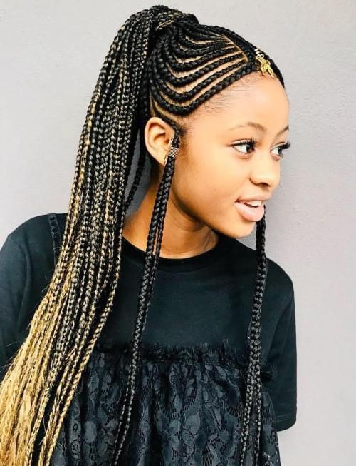 Retro style fulani braids ponytail, Artificial hair integrations