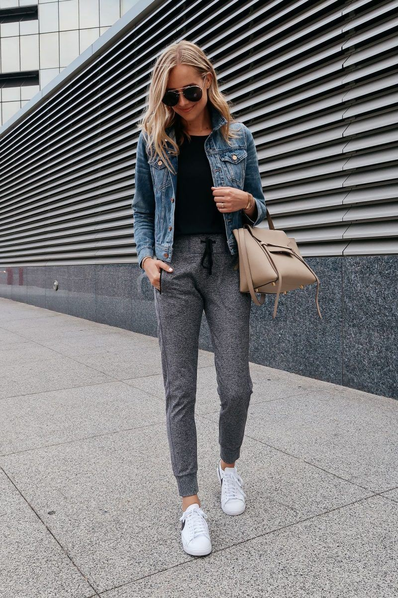 Jean jacket Athleisure Outfits For Women,