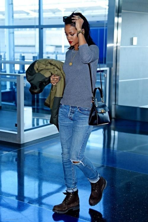 Cuffed jeans with combat boots