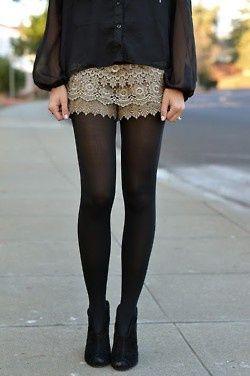 Sheer tights and shorts, Sheer fabric