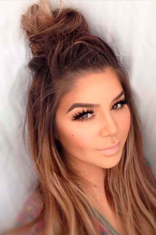 Top knot medium length hair