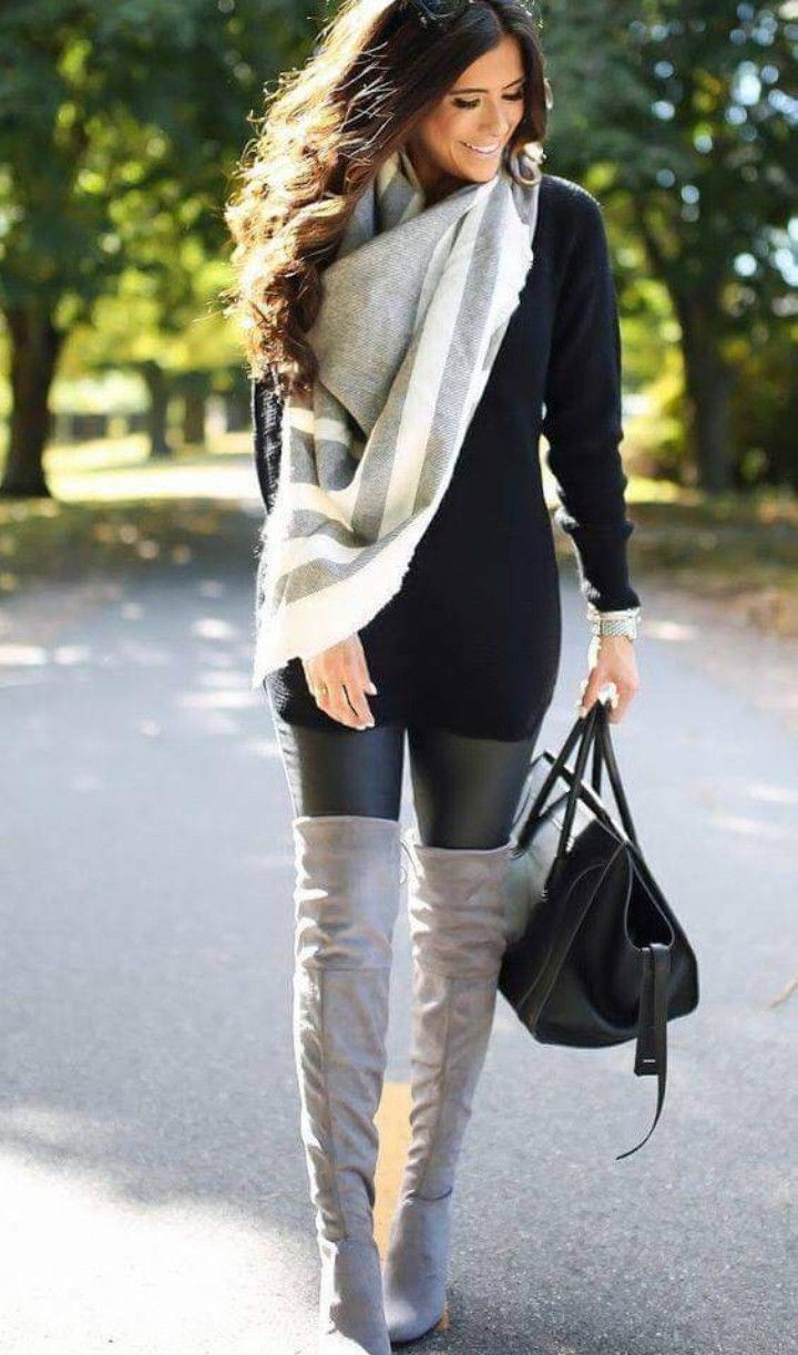 Leggings and boots outfit, Knee-high boot