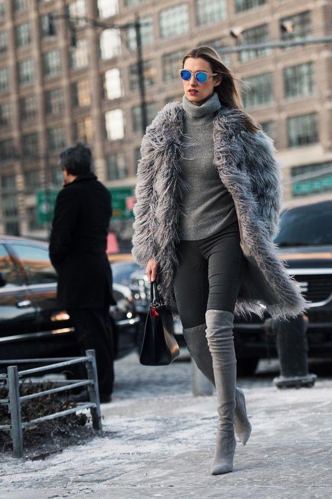 Grey fur jacket street style