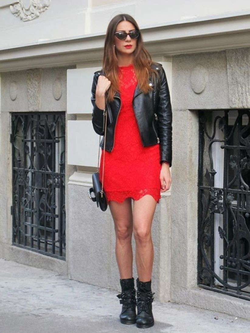 Red dress leather jacket