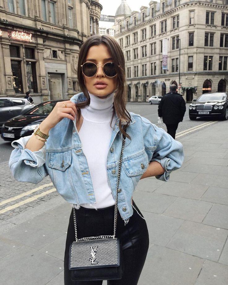 Denim jacket and turtleneck, Jean jacket