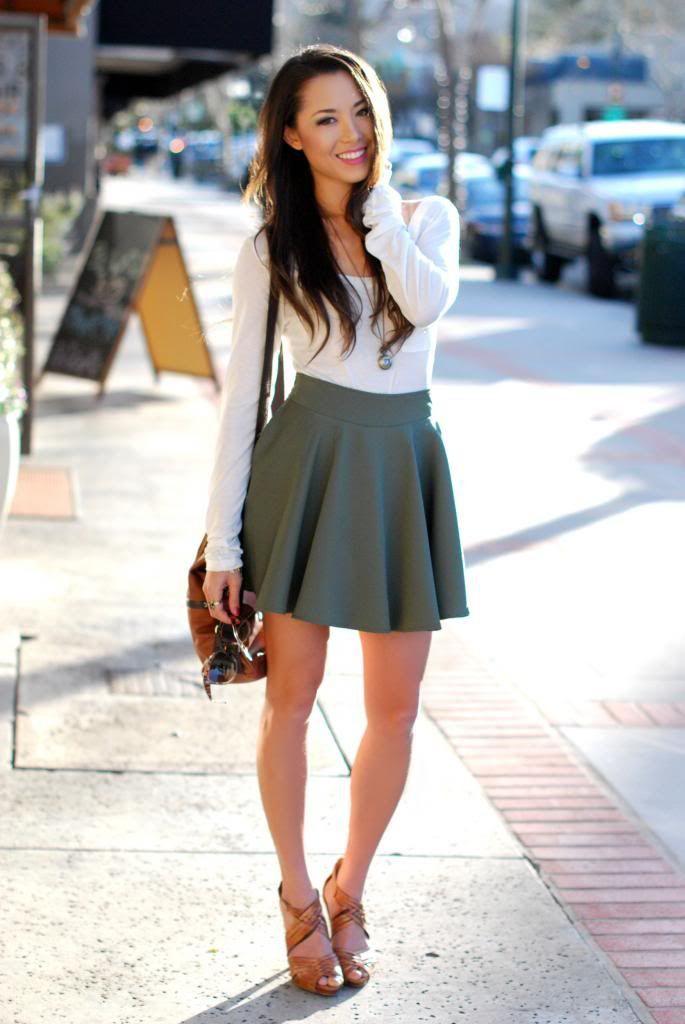 Dark green skater skirt outfits