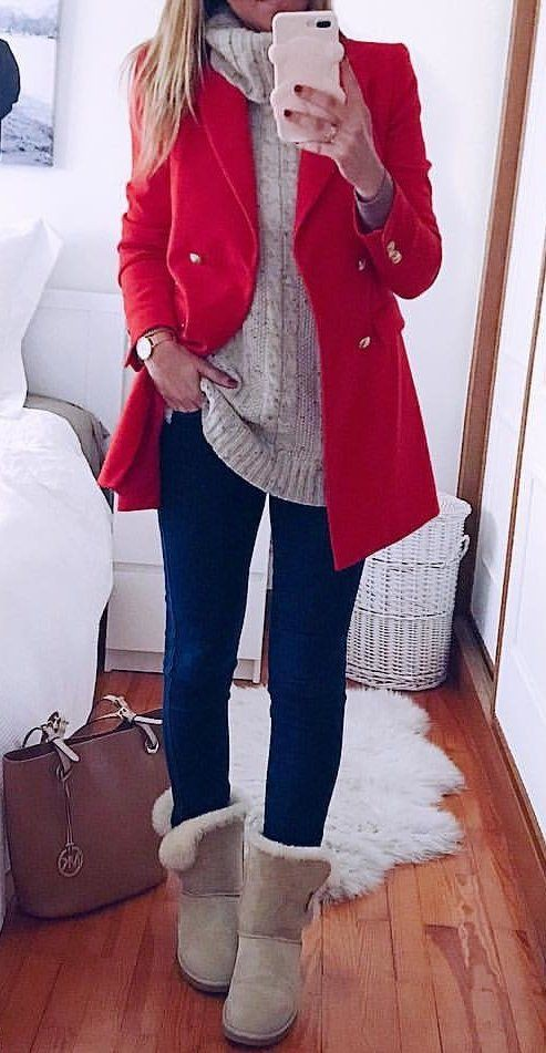 Outfit rojo invierno mujer, Casual wear