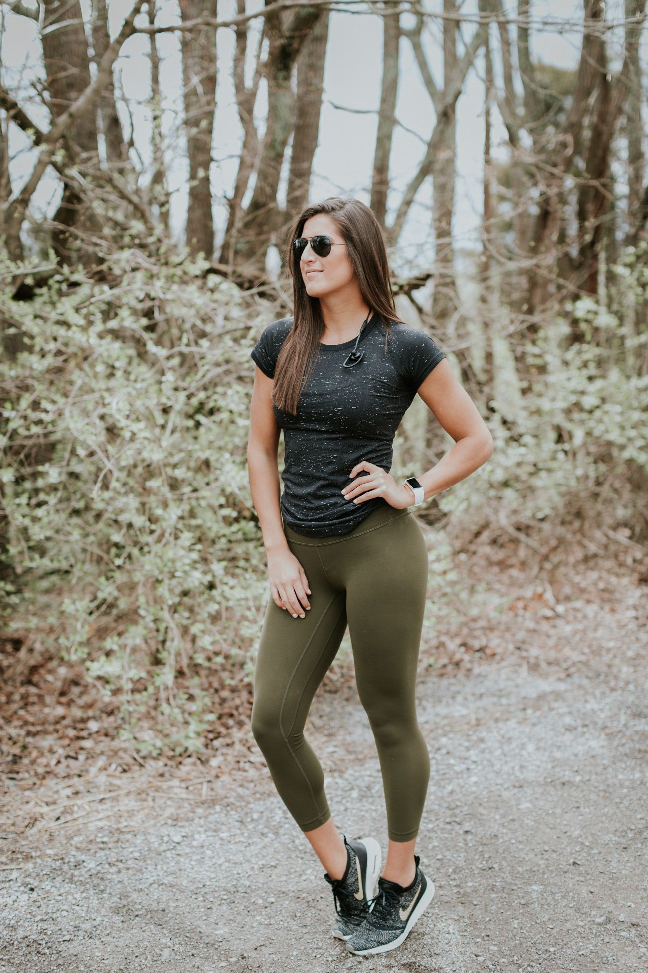 Green leggings outfit workout, lululemon Align