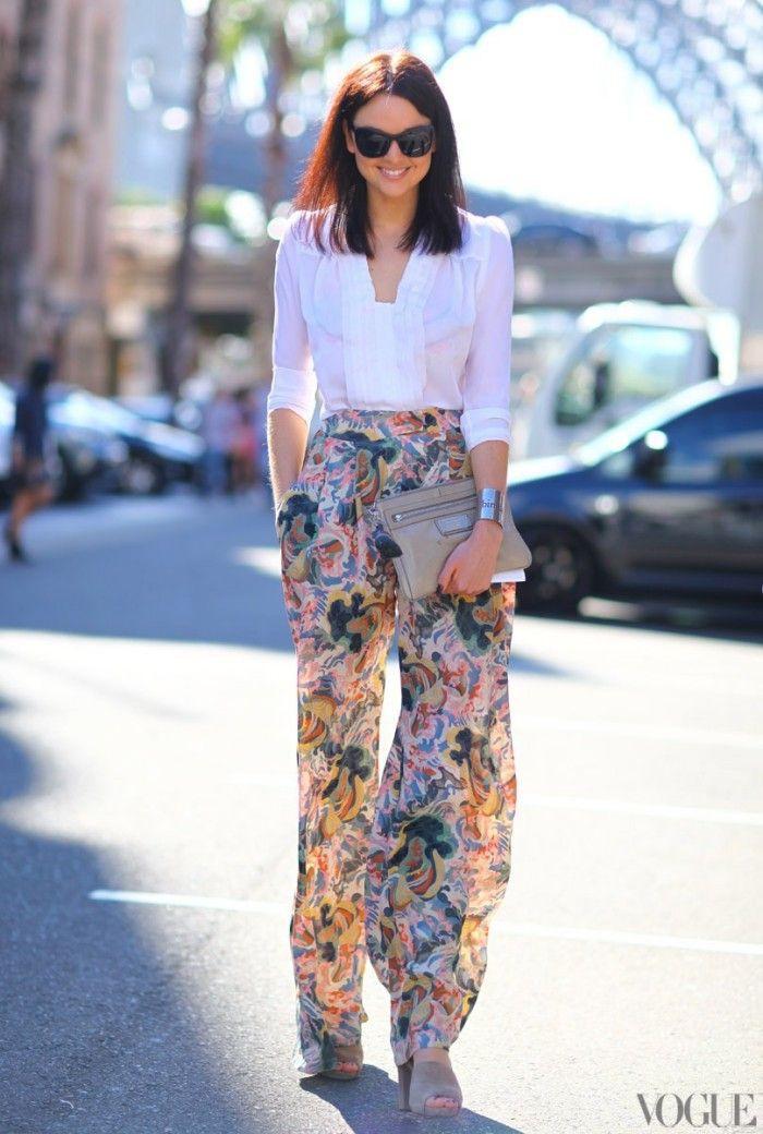 Floral wide leg pants outfit