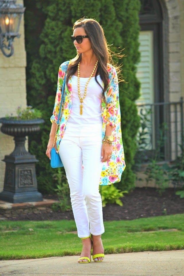 Pantalon blanco de mujer con kimonos