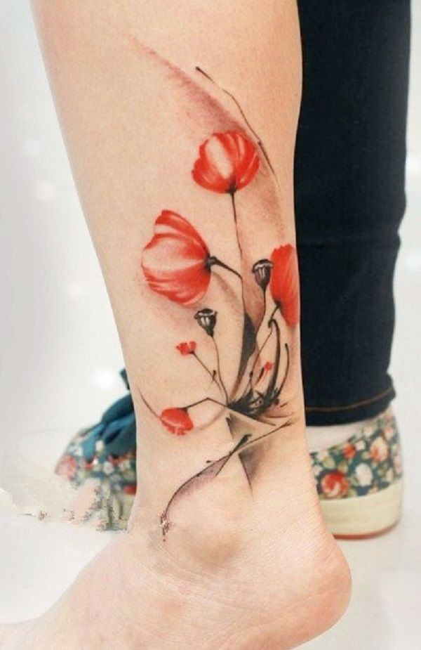Stylish and adorable poppy tattoo watercolor, Watercolor painting