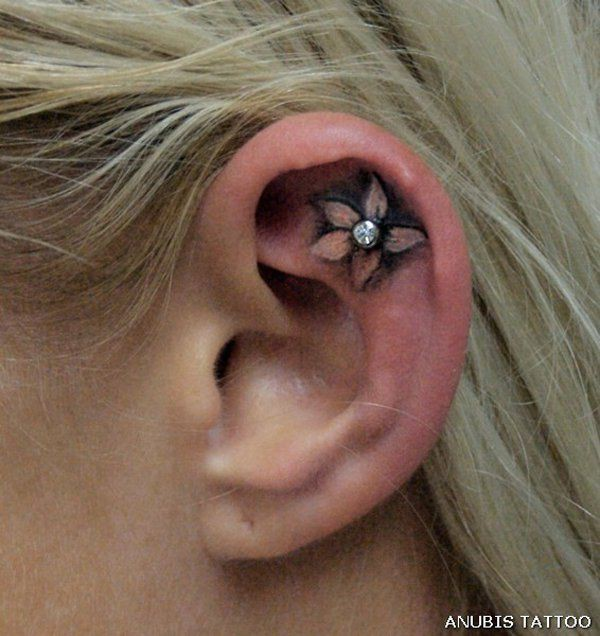 Cool designs for ear piercing tattoo, Surface piercing