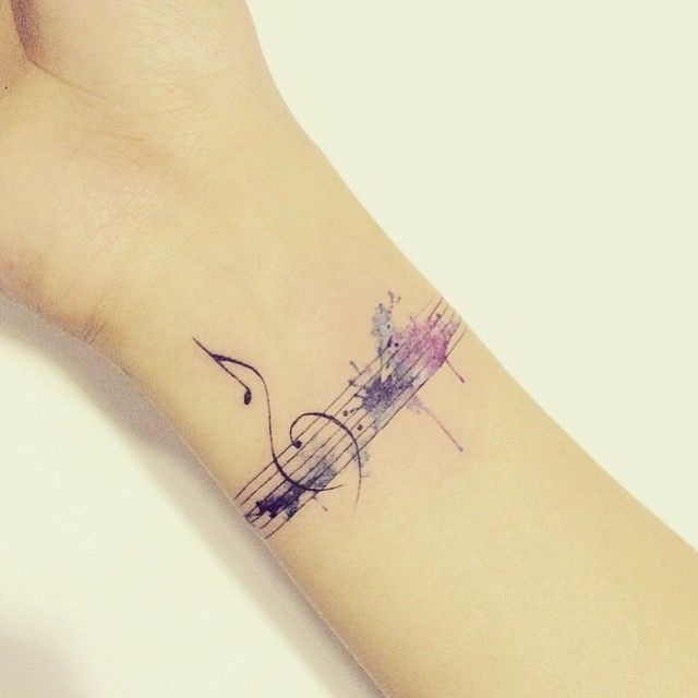 Lovely summer style watercolor tattoo small, Watercolor painting